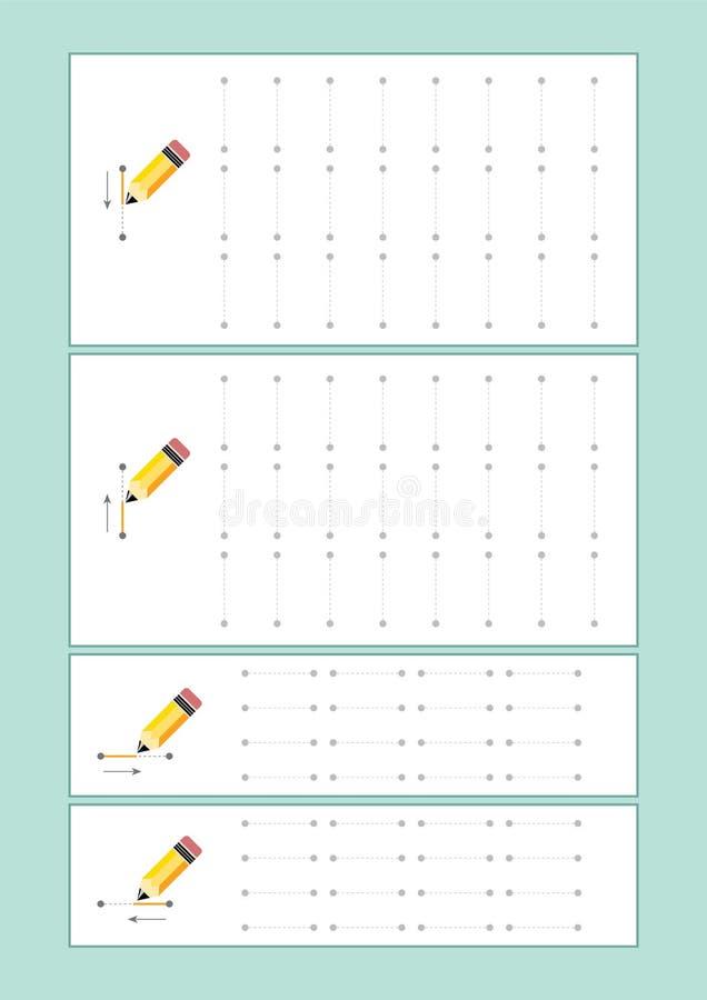 Spåringslinjer vektor för förträning eller dagis och specialundervisning Spåringslinjer för framkallande fineÂmotorexpertis stock illustrationer