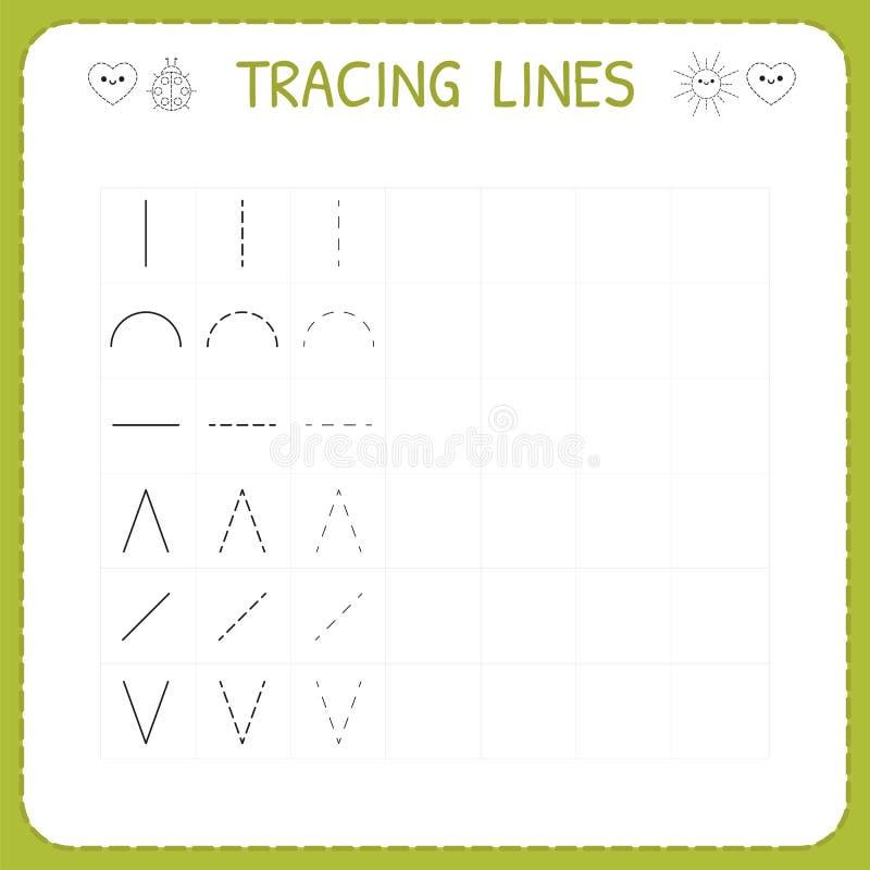 Spårlinje arbetssedel för ungar Arbetande sidor för barn Förträning eller dagisarbetssedel Spåra modellen Grundläggande handstil vektor illustrationer