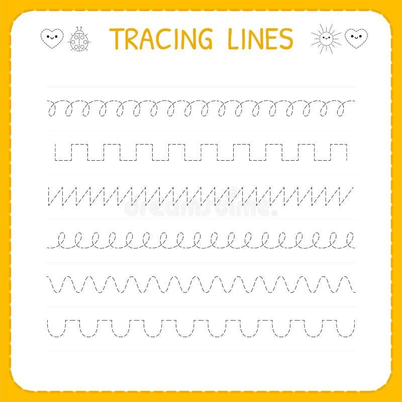 Spårlinje arbetssedel för ungar Grundläggande handstil Arbetande sidor för barn Förträning eller dagisarbetssedel Spåra modellen vektor illustrationer