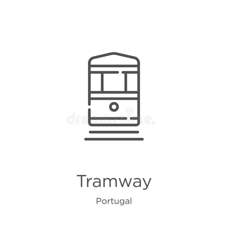 Spårvägsymbolsvektor från den Portugal samlingen Tunn linje illustration för vektor för spårvägöversiktssymbol Översikt tunn linj stock illustrationer