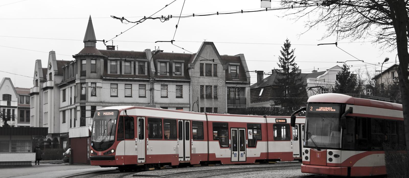 Spårvagnögla i Gdansk arkivbilder