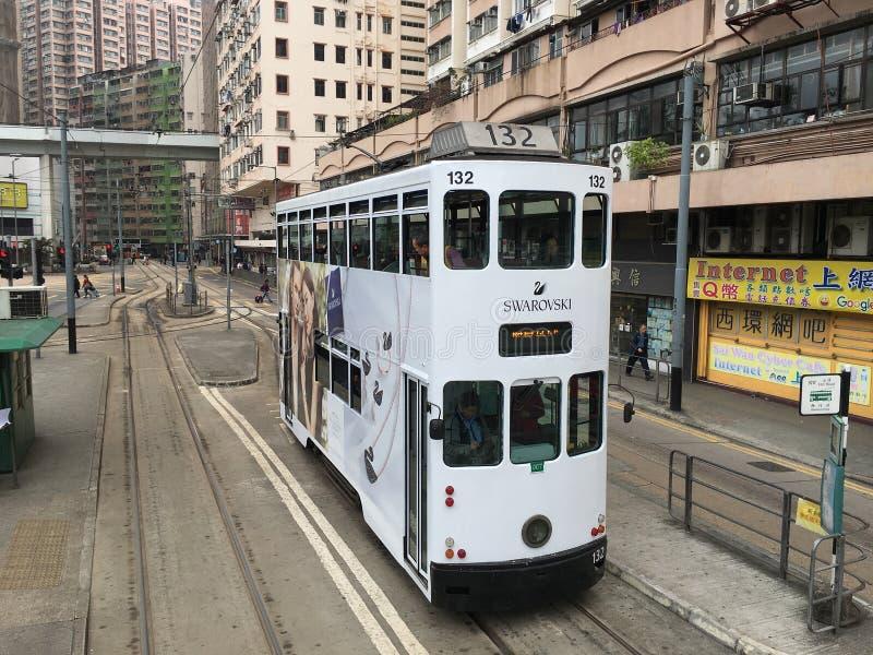 Spårvagn för dubbel däckare i Hong Kong arkivfoto