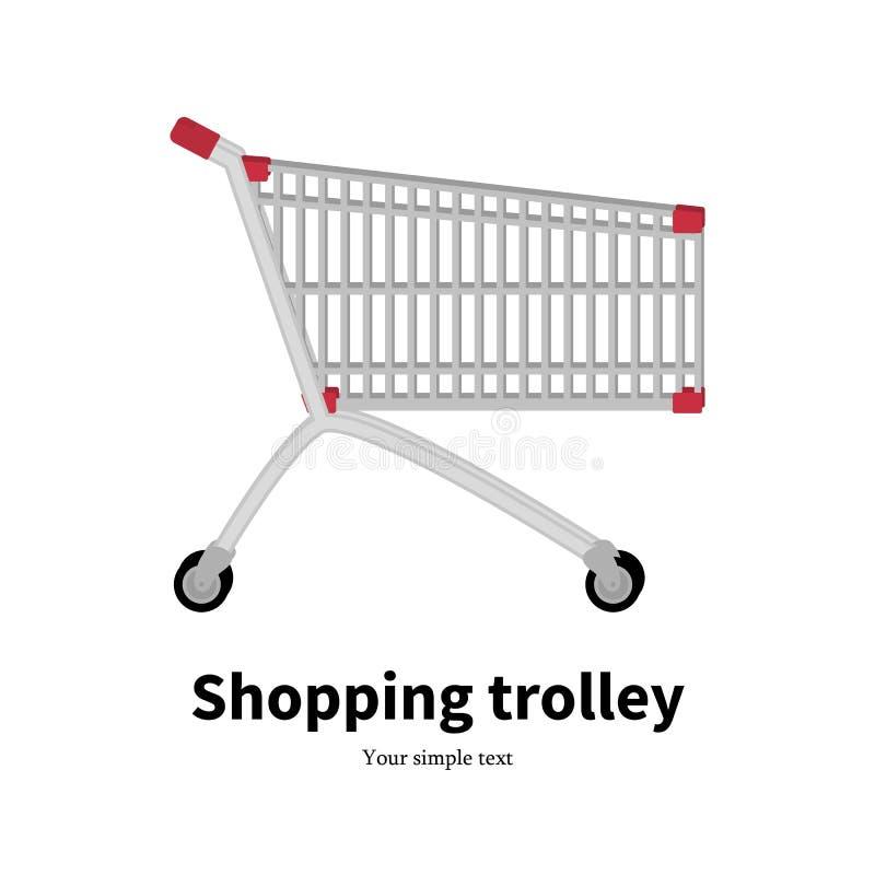 Spårvagn för shopping för vektorillustrationmetall tom royaltyfri illustrationer