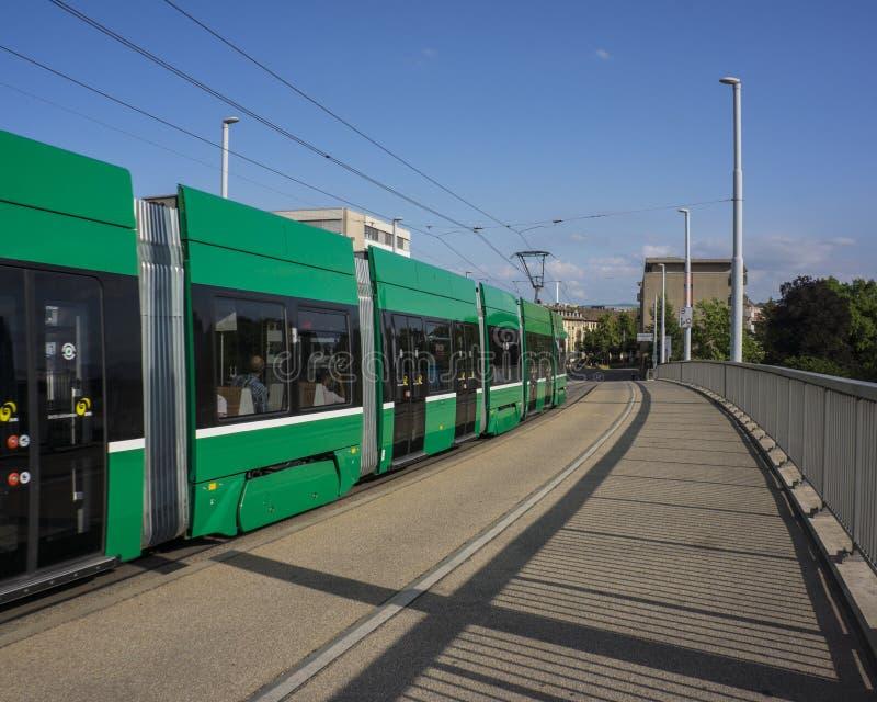 Spårvagn i Basel Urban sikter och landskap på staden royaltyfri fotografi
