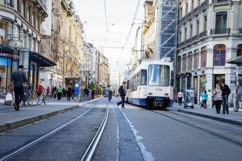 Spårvagn i Genève, Schweiz royaltyfri bild