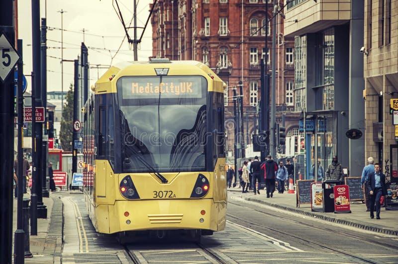 Spårvagn i Manchester arkivfoto
