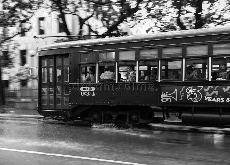 Spårvagn i regnet royaltyfria foton