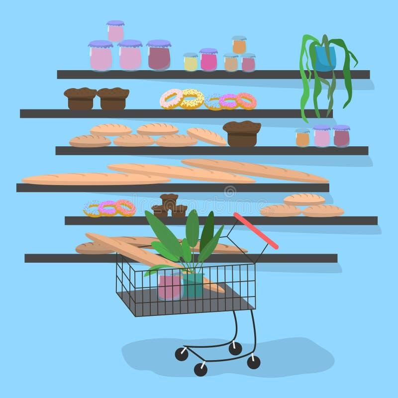 Spårvagn i supermarket nära hyllorna med brödvektorillustrationen stock illustrationer