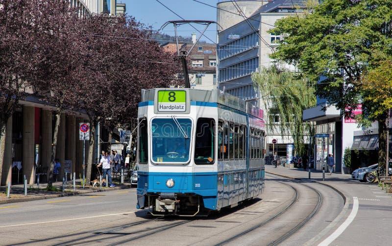 Spårvagn i Zurich arkivfoton