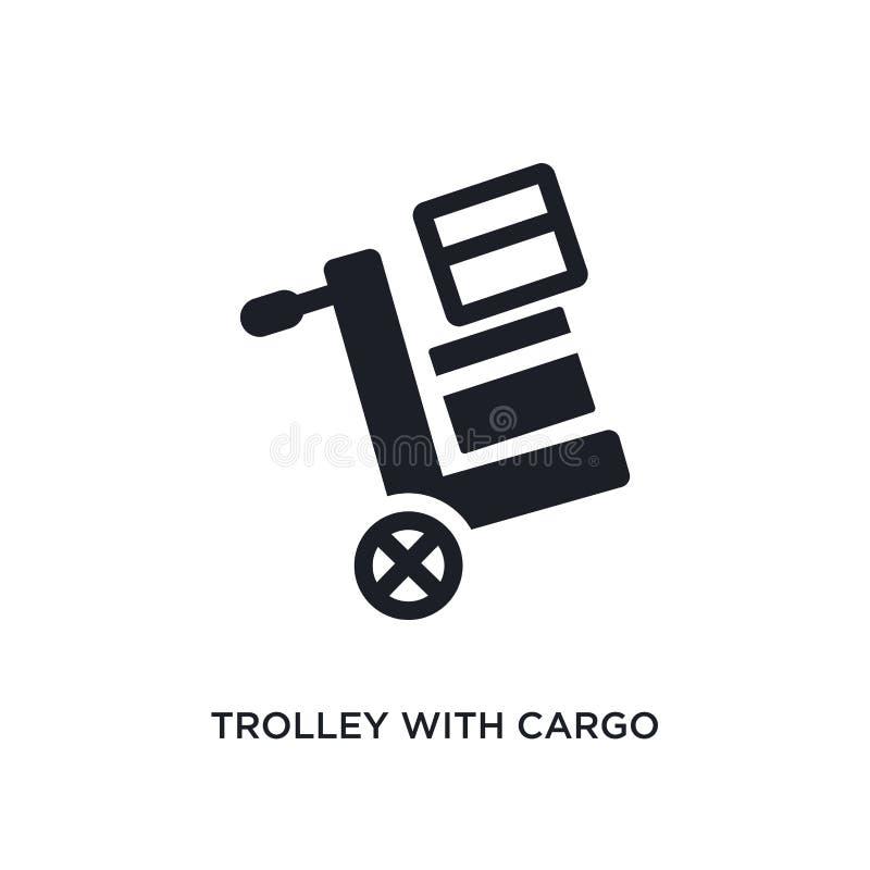 spårvagn med den last isolerade symbolen enkel beståndsdelillustration från konstruktionsbegreppssymboler spårvagn med redigerbar stock illustrationer