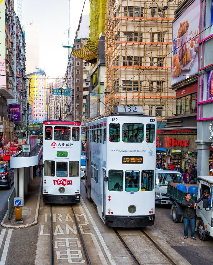 Spårvagnar Wan Chai område, Hong Kong, Kina arkivfoto