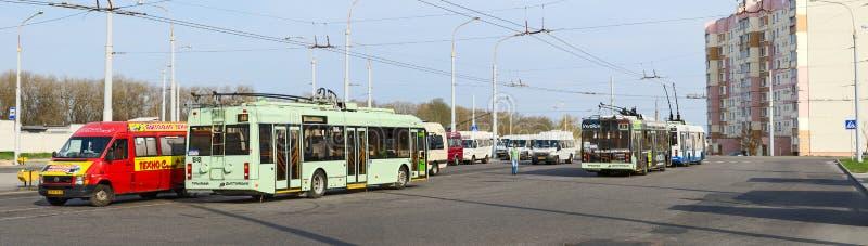 Spårvagnbussar och taxi på det sista stoppet, Gomel, Vitryssland royaltyfri foto