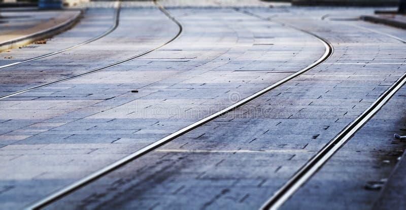 Spårvagnjärnvägar royaltyfria bilder