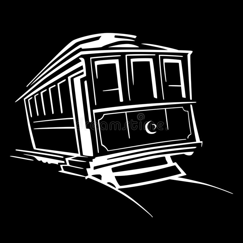 Spårvagnsymbol på svart stock illustrationer