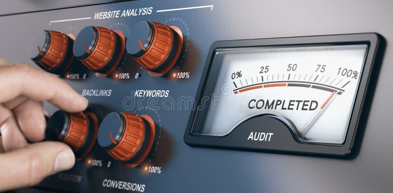 Spécialiste en audit de site Web, SEO Auditing illustration libre de droits