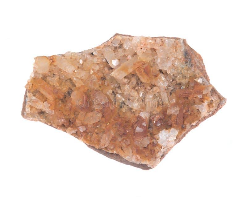 Spécimen d'or de quartz de groupe de guérisseur d'Arkansas image stock