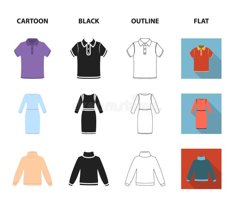 Spódnica, koszulka, pulower, suknia z długimi rękawami Odziewać ustalone inkasowe ikony w kreskówce, czerń, kontur, mieszkanie st ilustracja wektor
