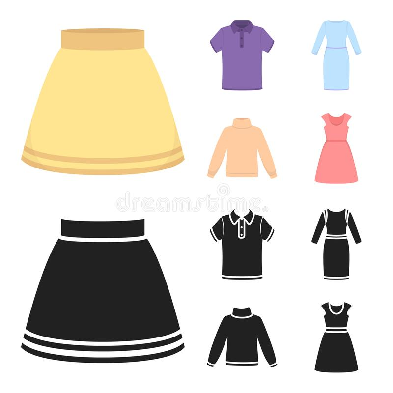 Spódnica, koszulka, pulower, suknia z długimi rękawami Odziewać ustalone inkasowe ikony w kreskówce, czerń stylowy wektorowy symb ilustracja wektor