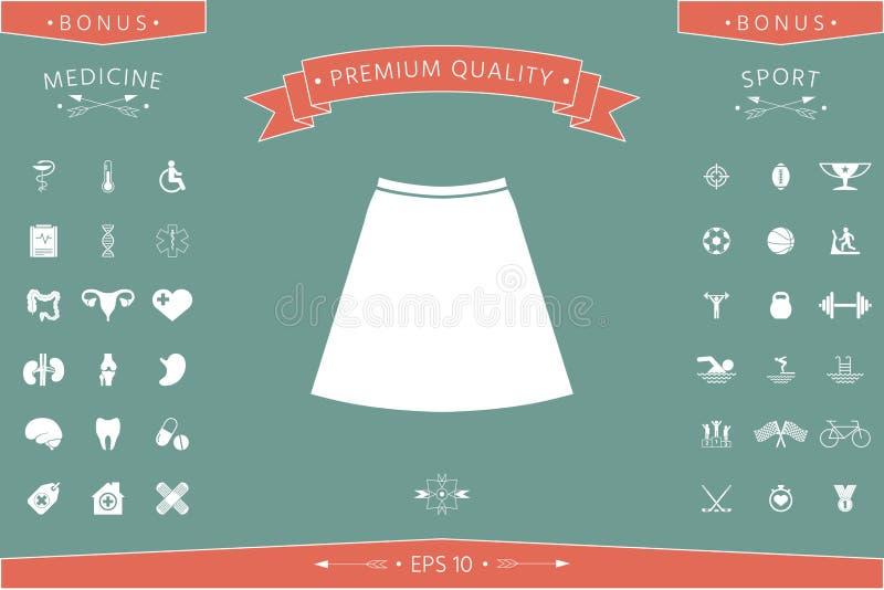 Spódnicowa ikona sylwetka Menu rzecz w sieć projekcie ilustracji