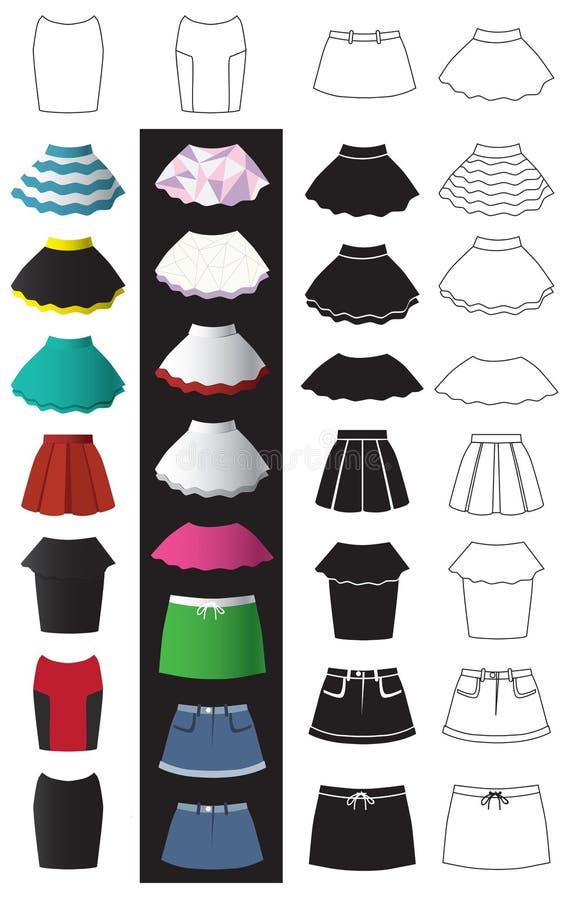 Spódnicowe mod ikony ilustracja wektor