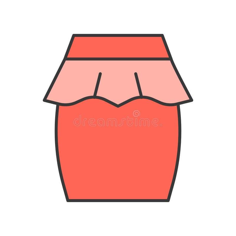 Spódnicowy wektor, wypełniający koloru konturu editable uderzenie ilustracja wektor