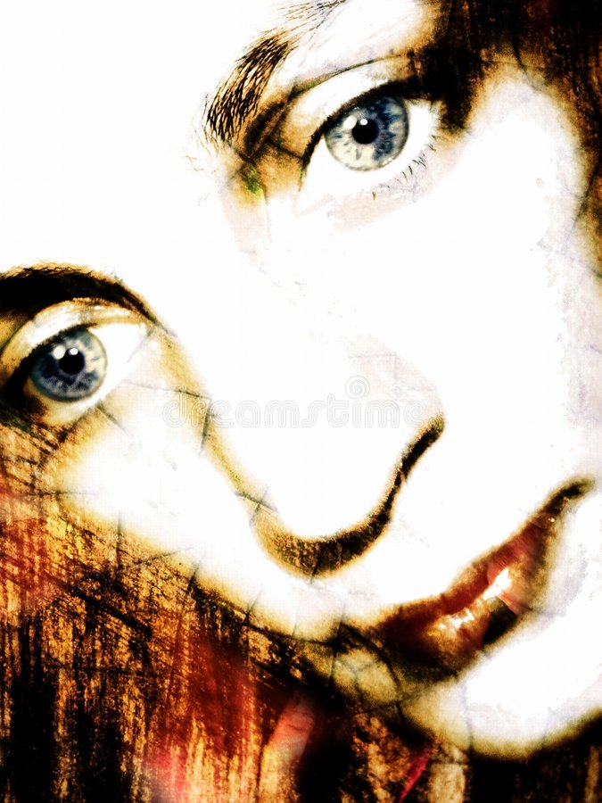 spójrz w dół 2 portret kobiety zdjęcie stock