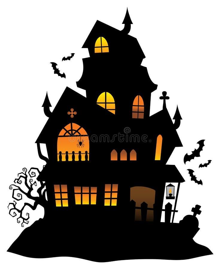 Spökad bild 1 för huskonturtema royaltyfri illustrationer