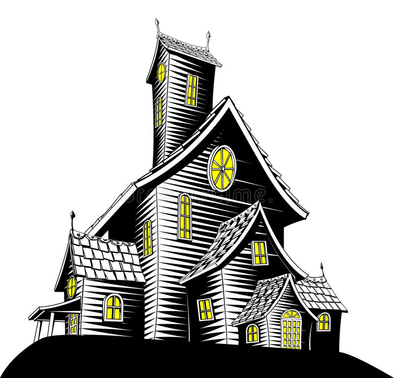 spökad läskig husillustration royaltyfri illustrationer