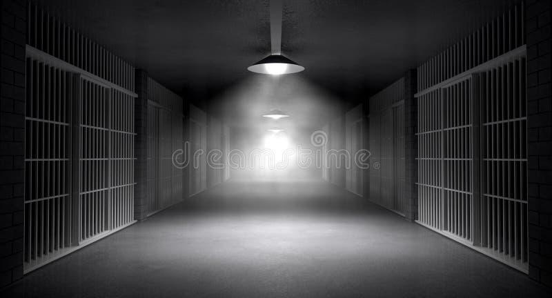 Spökade arrestkorridor och celler stock illustrationer