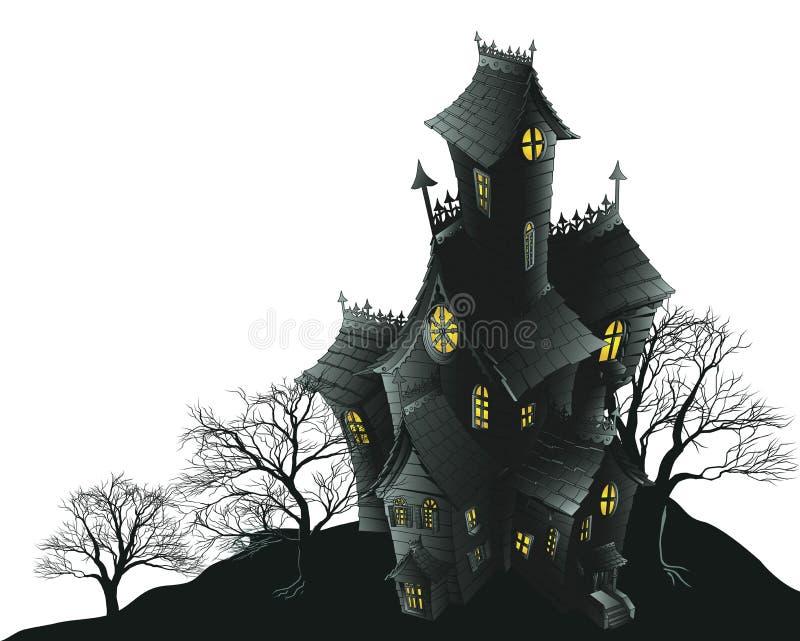 spökade läskiga trees för husillustration stock illustrationer