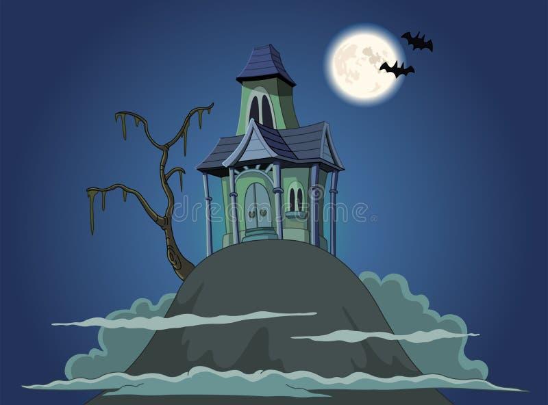 Spökat hus royaltyfri illustrationer