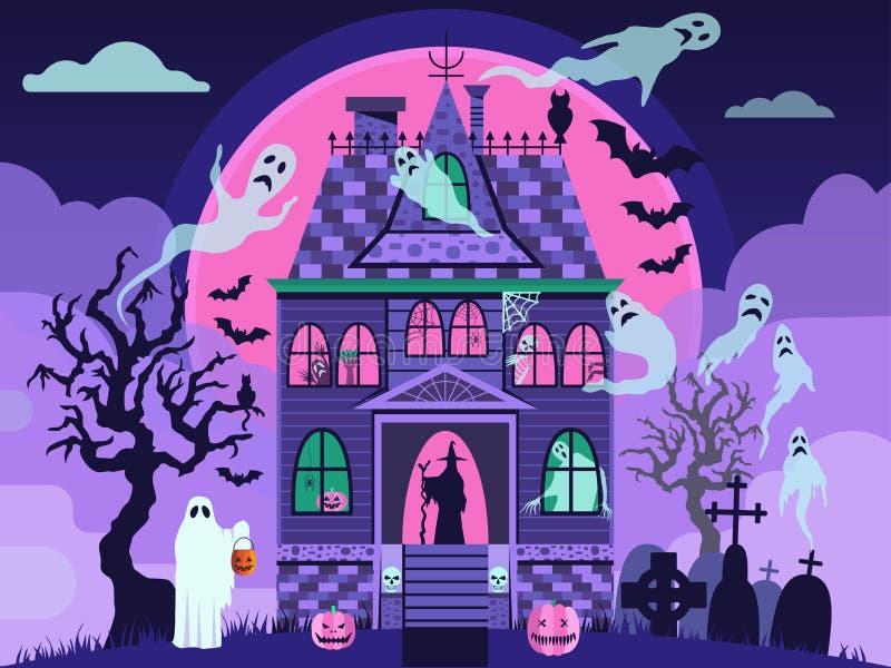 Spökat hus för allhelgonaafton med monster och spökar stock illustrationer