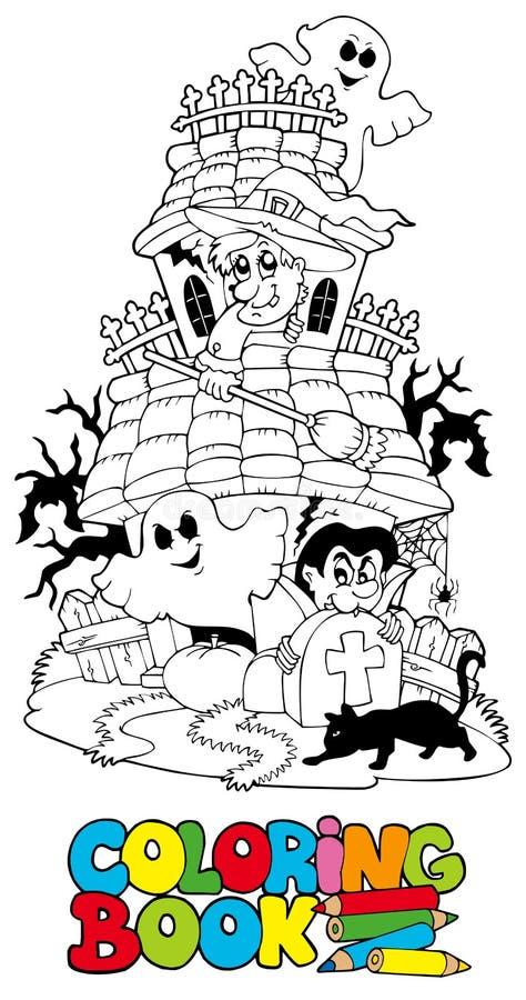 spökat hus för bok färgläggning royaltyfri illustrationer