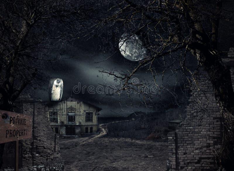 Spökat hus med att vänta för gam vektor illustrationer