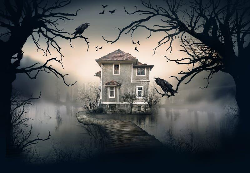 Spökat hus på sjön royaltyfria foton