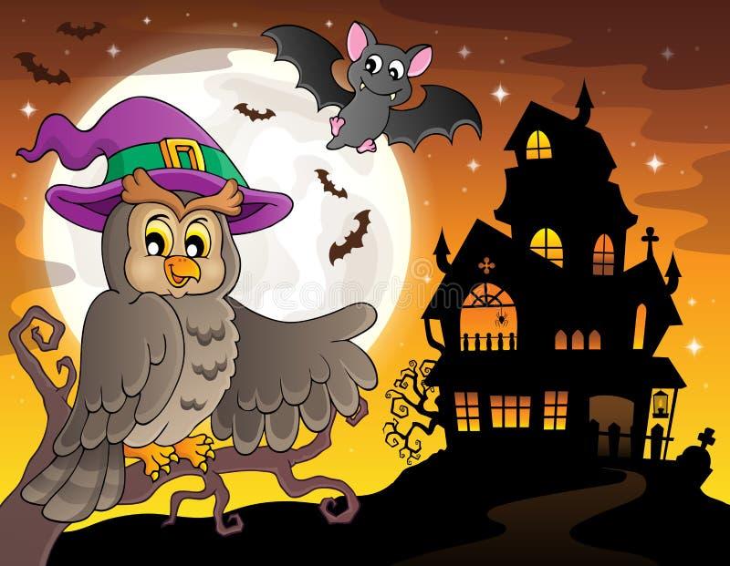 Spökat hustema 2 för uggla nära royaltyfri illustrationer