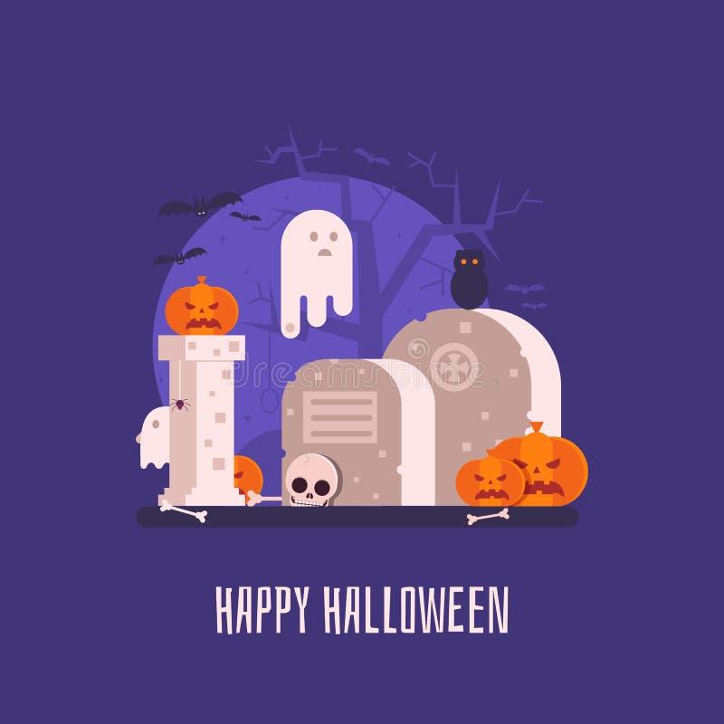Spökat kyrkogårdallhelgonaaftonkort royaltyfri illustrationer