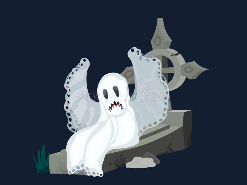 Spöke på ett allvarligt kors som gråter mörk bakgrund stock illustrationer