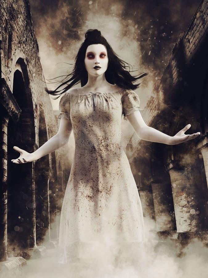 Spökeflicka i en förstörd abbotskloster stock illustrationer