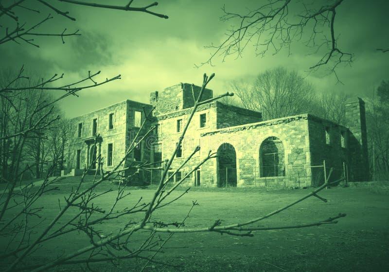 Spökehus bak trädfilialer arkivfoto