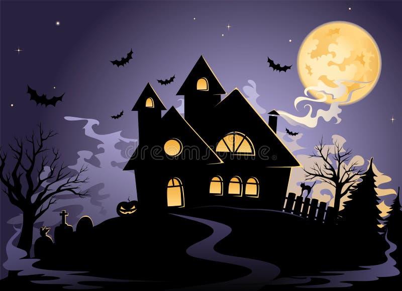 spöklik halloween husnatt s stock illustrationer