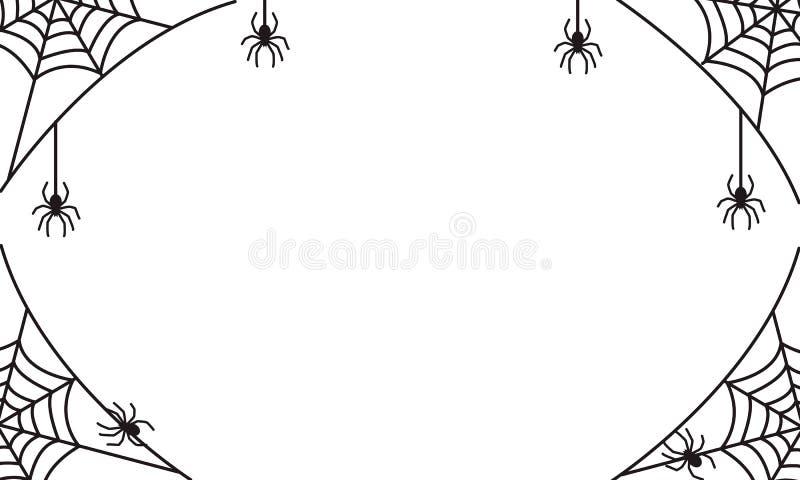 Spöklik halloween ram eller gräns med svart spindelrengöringsduk och hangi royaltyfri illustrationer