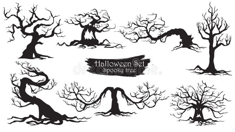 Spöklik isolerad trädkontursamling av allhelgonaaftonvektorn stock illustrationer