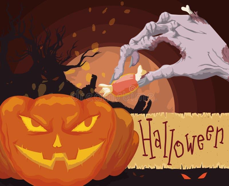Spöklik kyrkogårdsikt med levande dödhanden och pumpa för allhelgonaaftonen, vektorillustration royaltyfri illustrationer