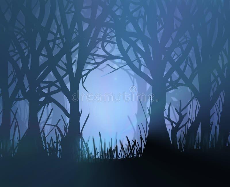 spöklik mörk skog vektor illustrationer