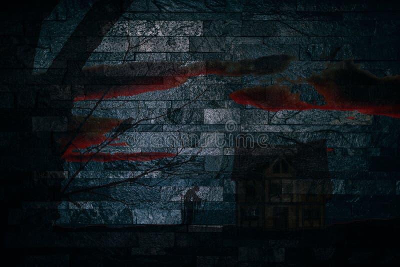 Spöklik plats för allhelgonaafton med ett häxaträd och ett spökat hus på en bakgrund för stenvägg royaltyfri illustrationer