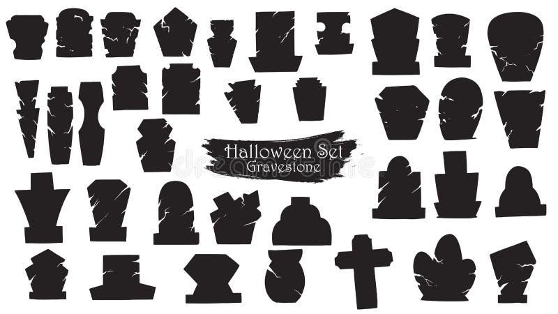 Spöklik samling för gravstenkyrkogårdkontur av allhelgonaaftonen ve vektor illustrationer