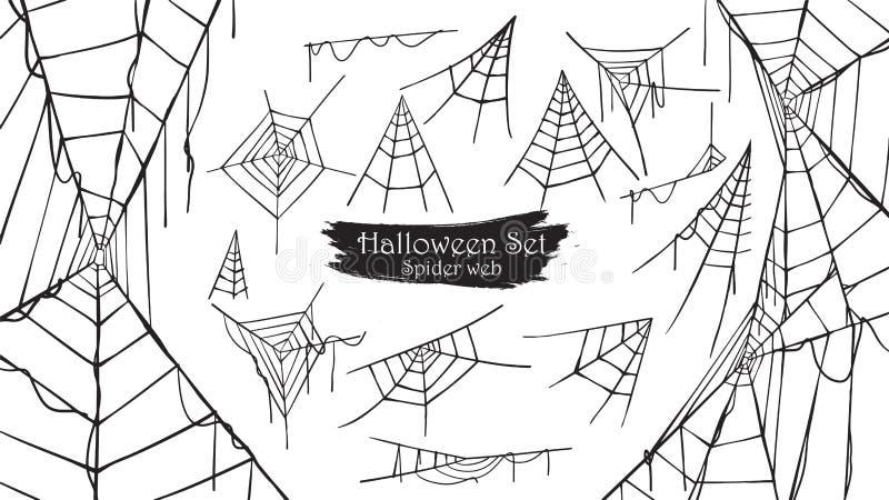Spöklik samling för kontur för spindelrengöringsduk av allhelgonaaftonvektorisolator royaltyfri illustrationer