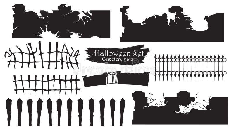 Spöklik samling för kyrkogårdportkontur av allhelgonaaftonvektor I royaltyfri illustrationer