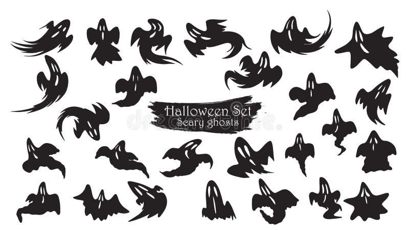 Spöklik samling för spökeflugakontur av allhelgonaaftonvektorisola royaltyfri illustrationer